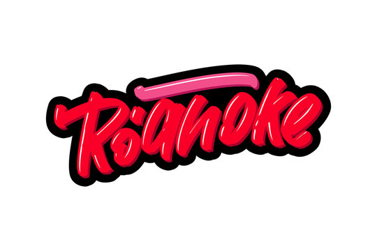 Roanoke hand drawn modern brush lettering. Vector illustration logo text for webpage, print and advertising.