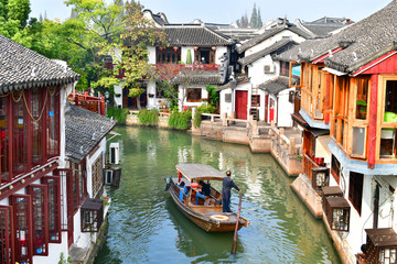Photo Stands Old building hujiajiao is an ancient town located in the Qingpu District of Shanghai.This is a water town was established about 1,700 years ago.36 stone bridges and many ancient building