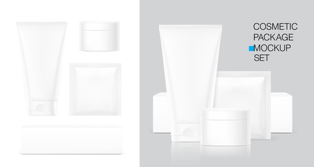 Blank plastic tube for cosmetics, cosmetic package container for creme. Vector illustration isolated on white background. Can be use for your design, advertising, promo and etc. EPS10.