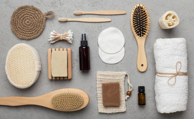 Natural eco bamboo accessories for everyday usage on gray Wall mural