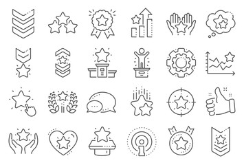 Ranking line icons. First place, star rating and winner medal. Shoulder strap, army achievement and victory ribbon icons. Star ranking, champion and winner trophy. Best level. Line signs set. Vector Fotobehang