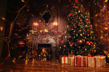 Foto op Canvas Bomen festive christmas interior