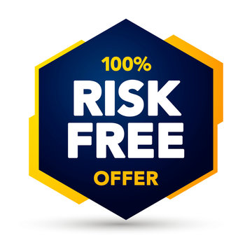 Vector Illustration 100 Percent Risk Free Offer Label. Modern Web Banner Element.