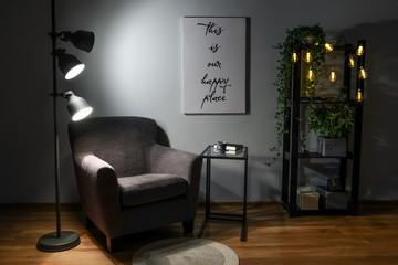 Wall Mural - Stylish interior of living room at night