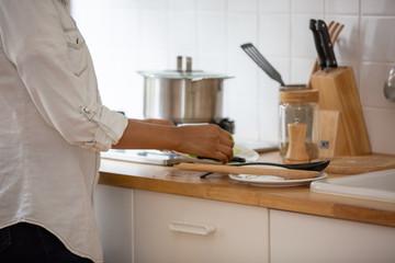Black skin women prepare cooking dinner in kitchen