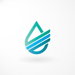 Water Logo Design with Financial Line