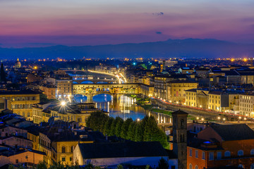Wall Mural - Night view of Ponte Vecchio over Arno River in Florence, Italy. Architecture and landmark of Florence. Skyline of Florence