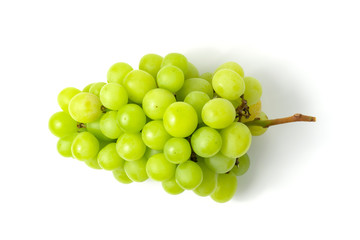 Fototapeta Fresh green grape isolated on white background top view.