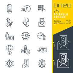 Lineo Editable Stroke - Banking and Finance line icons