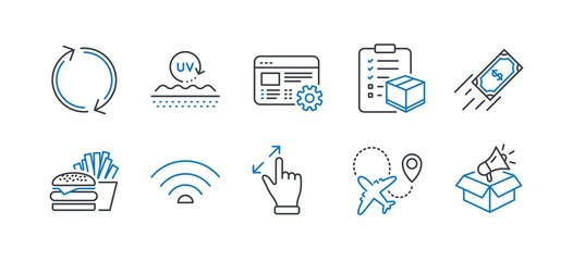 Set of Business icons, such as Wifi, Refresh, Touchscreen gesture, Parcel checklist, Web settings, Uv protection, Burger, Airplane, Fast payment, Megaphone box line icons. Line wifi icon. Vector