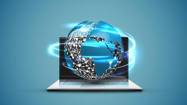 Realistic laptop with 3D world map with blue background, vector illustration