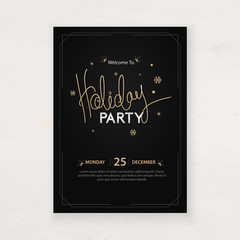 design for holiday party and happy new year party invitation flyer and greeting card template