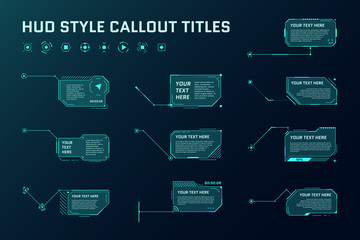 HUD futuristic style callout titles. Information call box bars and modern digital info frame layout templates. Interface UI and GUI element set. Vector illustration