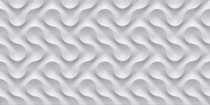 3D illustration white seamless pattern waves light and shadow. Wall decorative panel