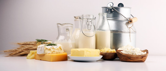 Different  healthy dairy products on rustic background with milk, cheese, butter and cottage