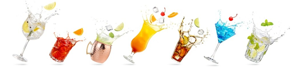 Wall Mural - collection of tilted glasses with splashing cocktails isolated on white