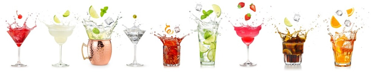 Stores photo Alcool splashing cocktails collection isolated on white background.