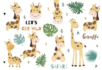 Cute animal object collection with giraffe and leaves.Vector illustration for icon,logo,sticker,printable.Include wording let's get wild
