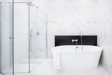 Elegant bathroom in white marble