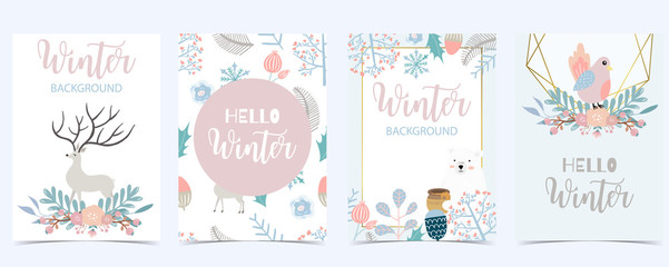 Wall Mural - Collection of winter background set with leaves,flower,leaves,frame.Editable vector illustration for birthday invitation,postcard and website banner