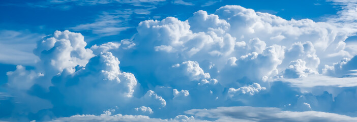 View of thick white cloud and blue sky pictures background and texture