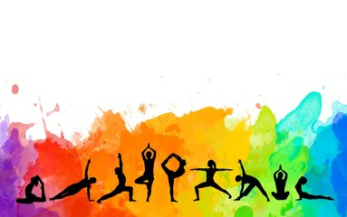 Detailed colorful silhouette yoga people illustration watercolor background. Fitness Concept. Gymnastics. Aerobics.