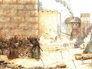 Ancient battle. Ancient Assyrians attack a city. Historical illustration.