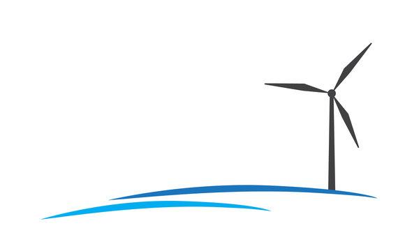 Offshore wind farm company logo vector icon