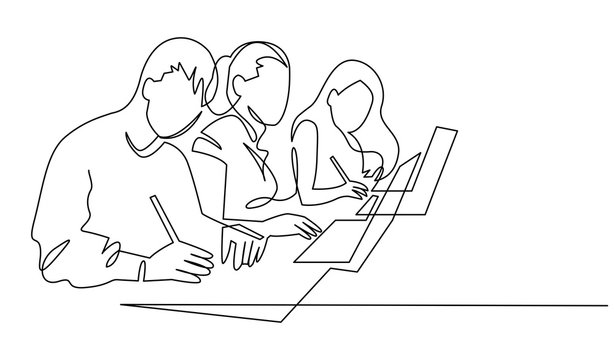 Group of people working continuous one line vector drawing. Students preparing to exams