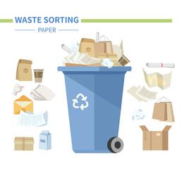 Paper waste sorting - modern flat design style illustration
