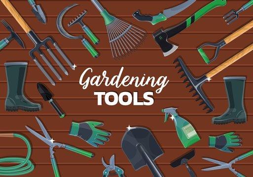Garden spade, fork, trowel, rake gardening tools