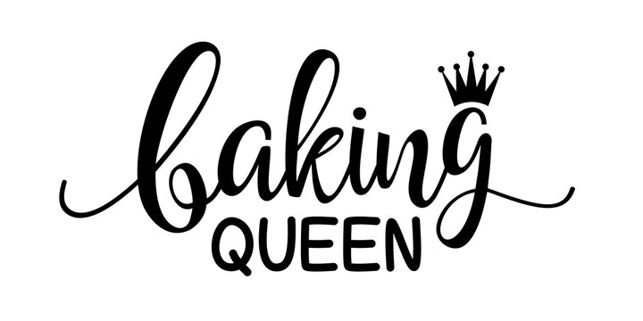 Baking Queen vector file. Mother's day decor. Kitchen decor. Isolated on transparent background.