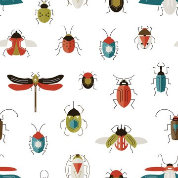 Bugs colorful vector seamless pattern