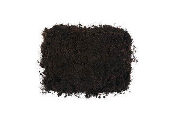 Square piece of soil isolated on white background. Gardening or planting concept.