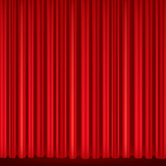 Red curtains of theater stage.