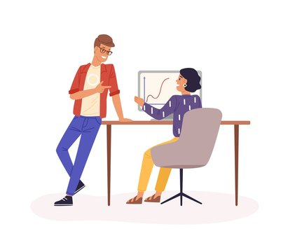 Office work flat vector illustration. Company staff communication. Colleagues cartoon characters. Statistics and analytics department. Office workers, employee workplace isolated on white background.