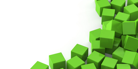 Green cubes on a white background. 3d render illustration.