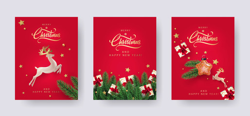 Set of Christmas and New Year greeting cards with xmas decoration. Winter Holiday Posters or banners design in modern realistic style with fir branches, gift boxes, christmas tree toys deer and stars Wall mural