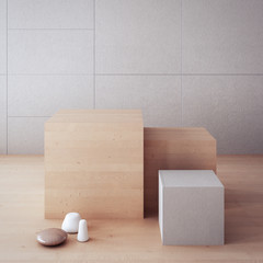 Timeless-looking backdrop / display box / 3D rendering interior