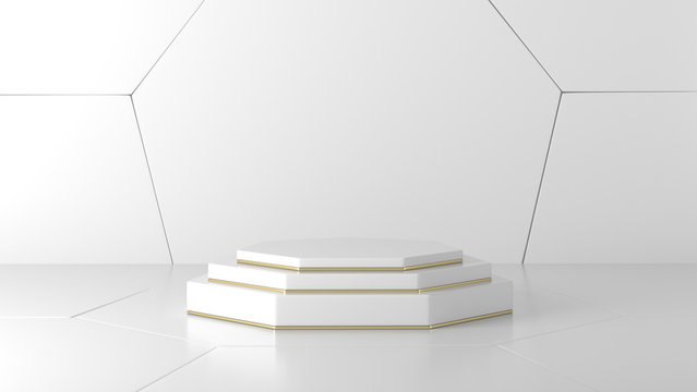 white, gold Hexagon podium in modern hexagon shape white background. concept scene stage showcase for new product, promotion sale, banner, discount, presentation, cosmetic. with copy space - 3D
