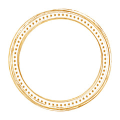 gold round christmas frame on white background