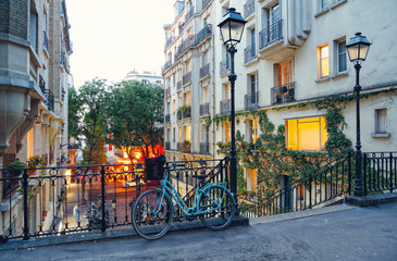 Bike and staircase in Montmartre, Paris