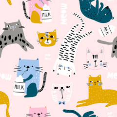 Seamless childish pattern with cute cats in different poses. Creative kids hand drawn texture for fabric, wrapping, textile, wallpaper, apparel. Vector illustration