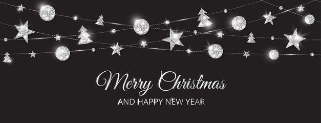 Wall Mural - Merry Christmas banner with sparkling silver decoration on black background