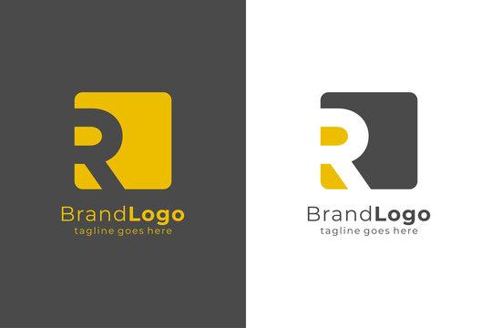 Letter R Square Rounded Logo Design Template Element Flat Vector Illustration