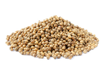 Pile of Dried coriander seeds isolated on white background. Full depth of field. Pile of coriander seeds isolated on white background. Coriandrum sativum seeds. Coriander seeds isolated.