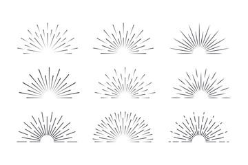 Sunburst set black style isolated on background for logotype, emblem, logo, tag. Firework explosion, star. Vector stock illustration.