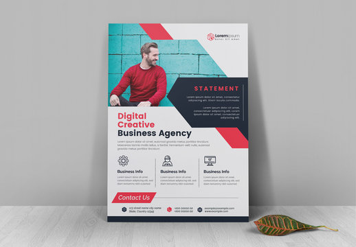 Corporate Flyer Layout with Red Accents