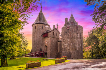 Castell Coch is a 19th-century Gothic castle erected over the village of Tongwynlais in South Wales.