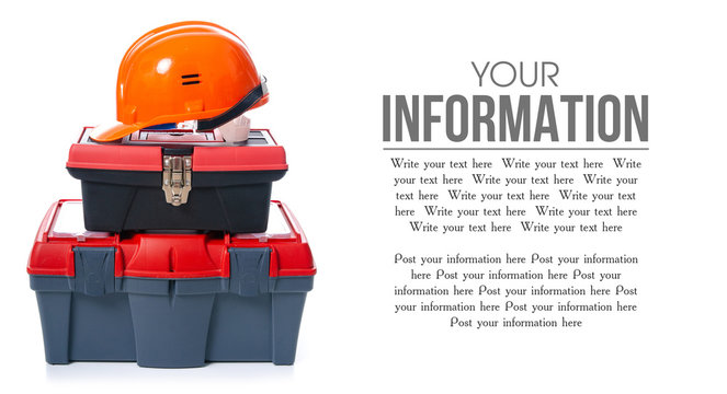 toolbox, helmet, building tools on white background isolation, space for text
